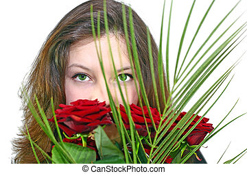 girl with a bouquet of roses