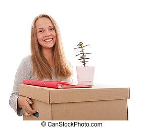 girl with a box on a head