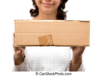girl with a box on a white background