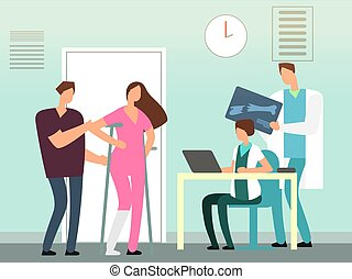 Girl with a broken leg at the surgeon vector illustration