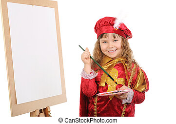 Girl with a brush and paints near an easel. Isolated on white