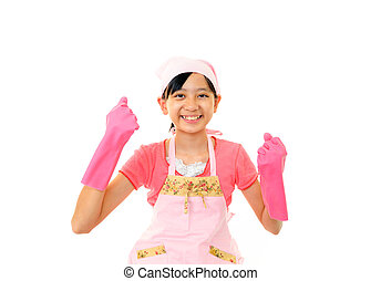 Girl with a cleaning