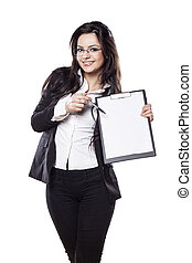 girl with a clipboard