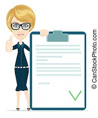 Girl with a document approved