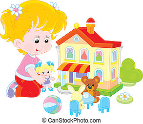 Girl with a doll and toy house - Little girl playing with a...