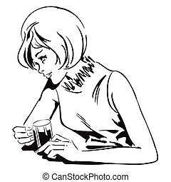 Girl with a drink. Stock illustration.