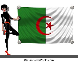 Girl with a Flag of Algeria