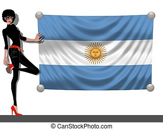 Girl with a Flag of Argentina
