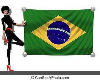 Girl with a Flag of Brazil