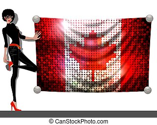 Girl with a Flag of Canada