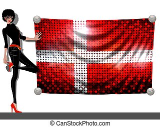 Girl with a Flag of Denmark