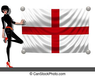 Girl with a Flag of England