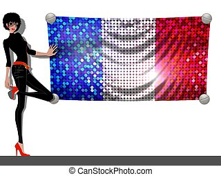 Girl with a Flag of France