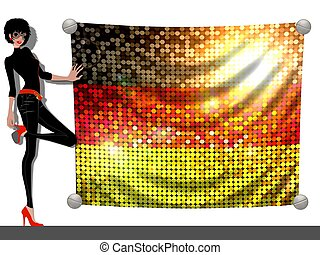 Girl with a Flag of Germany