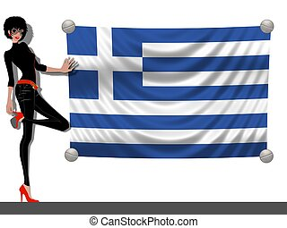 Girl with a Flag of Greece