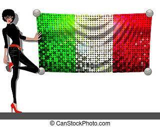 Girl with a Flag of Italy