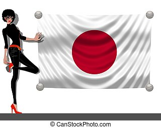 Girl with a Flag of Japan