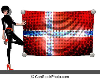 Girl with a Flag of Norway