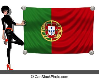 Girl with a Flag of Portugal