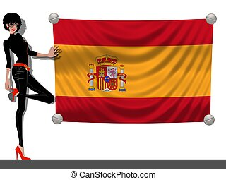 Girl with a Flag of Spain