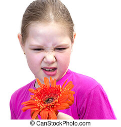 girl with a flower isolated on white