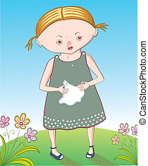 Little girl with a flu in summer landscape holding a handkerchief