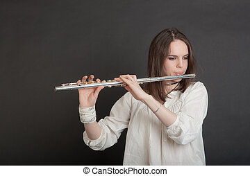 girl with a flute