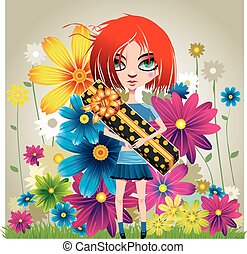 Girl with a gift and flowers