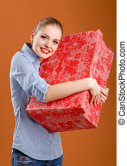 girl with a gift box