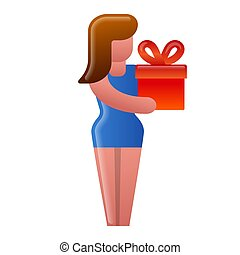 girl with a gift icon