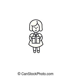 girl with a gift vector line icon, sign, illustration on background, editable strokes