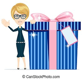 Girl with a great gift, vector