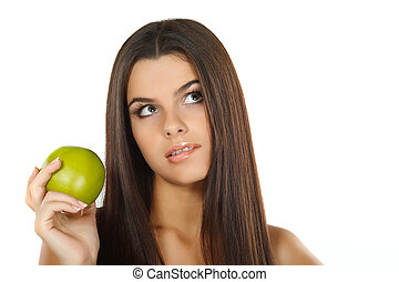 girl with a green apple, emotions