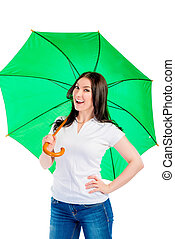 girl with a green umbrella on a white background