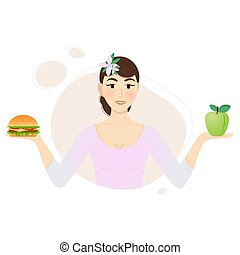 Girl with a hamburger and an apple