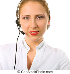 girl with a headset on her head