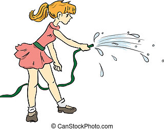 Girl with a hose