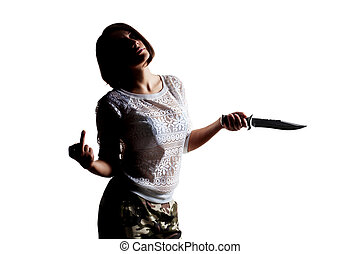girl with a large knife and middle finger up