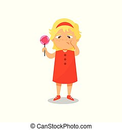 Girl with a lollipop in her hands suffering from toothache vector Illustration on a white background