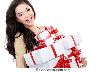 girl with a lot of gift box