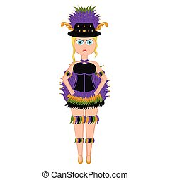 Girl with a mardi gras costume