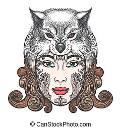 Girl with a mask of a wolf