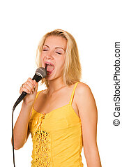 Girl with a microphone isolated on white background
