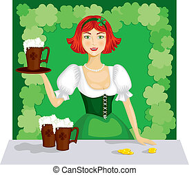 girl with a mug of ale