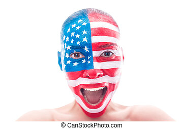 Girl with a painted American flag, closeup