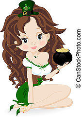 Girl with a pot of coins - Girl with a pot of gold coins
