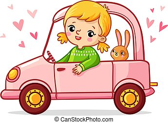 Girl with a rabbit is riding a pink car.