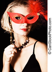 Girl with a red carnival mask