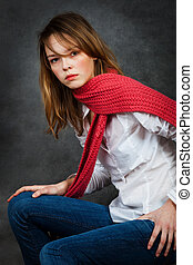 girl with a red scarf