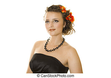 Girl with a romantic hairstyle